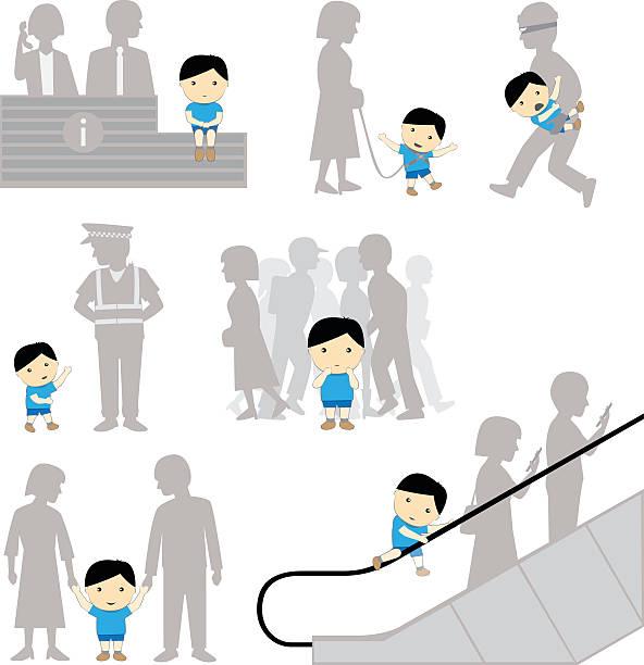 child safety missing negligence set - child abuse stock illustrations