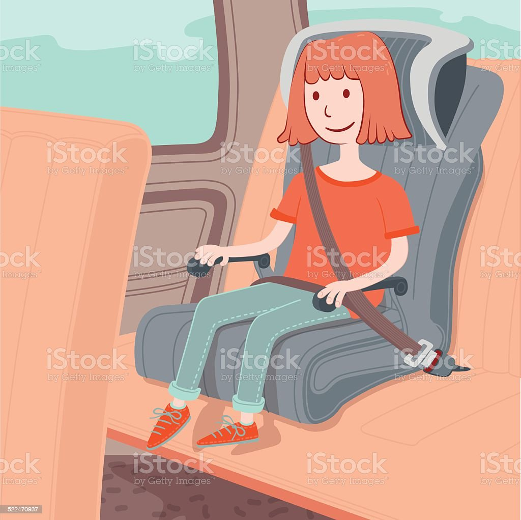 Child safety seat vector art illustration