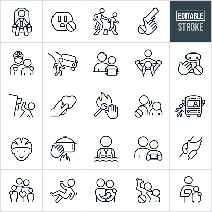 Child Safety Thin Line Icons - Editable Stroke