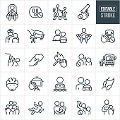 A set of child safety line icons that include editable strokes or outlines using the EPS vector file. The icons include a child fastened in a car seat, power outlet, parent and child crossing street in a crosswalk, gun safety, police officer with hand on shoulder of a child, child nearly being hit by car, parent observing child's internet use on the computer to represent internet safety, hand and pill bottle with prohibited sign, dresser falling on child, fire safety, adult yelling at child, child boarding a school bus, child wearing helmet, hand touching hot pot, child with lifejacket while swimming, family of four, child falling down, couple with newborn baby, adult hitting a child and other related icons.