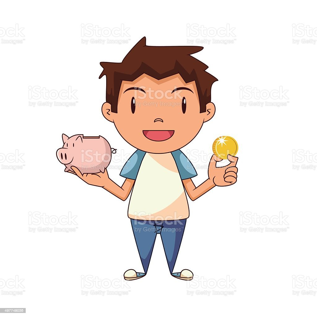 royalty free boy piggy bank clip art vector images illustrations rh istockphoto com