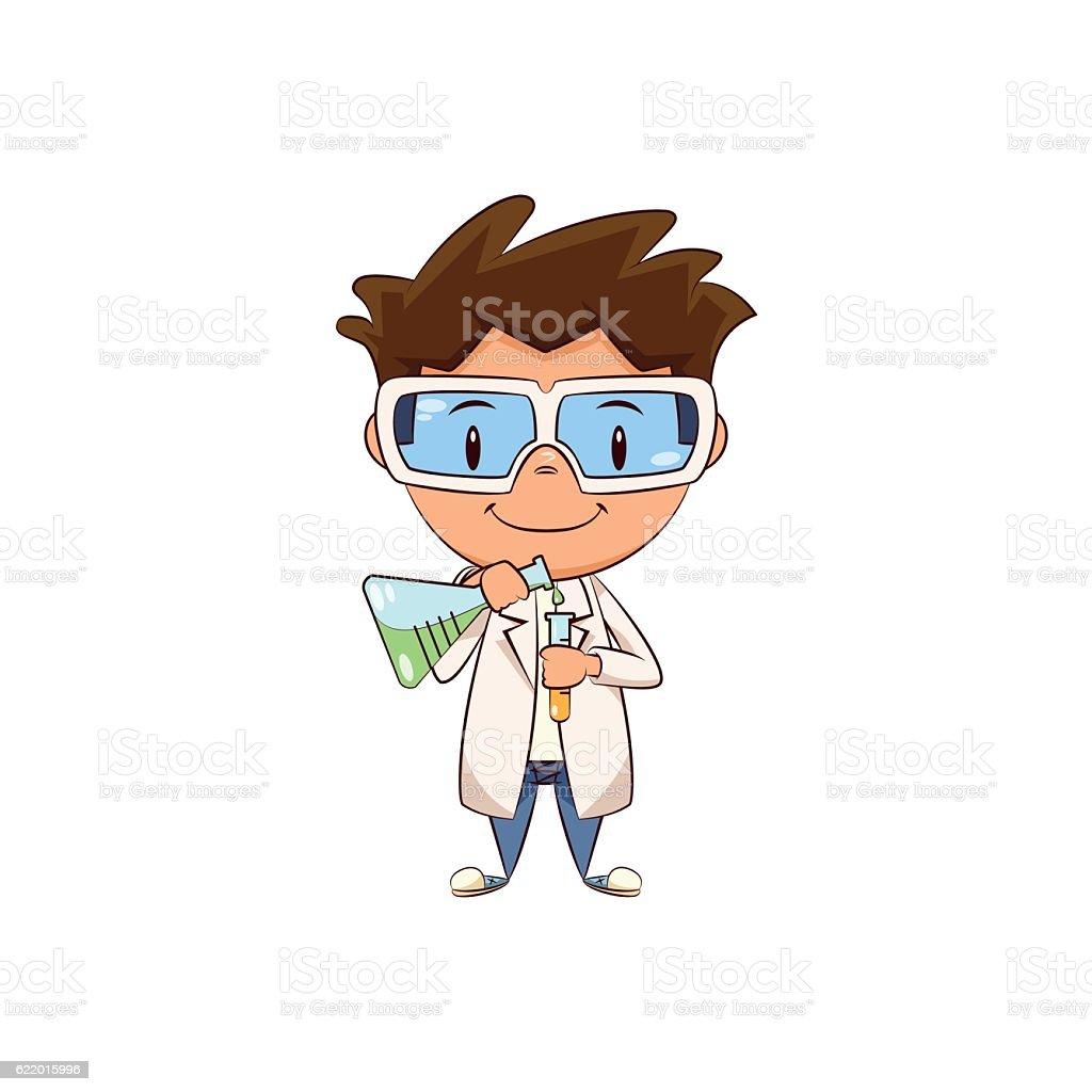 Child scientist vector art illustration