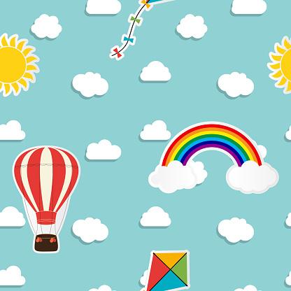 Child seamless pattern background with rainbow, sun, cloud, kite and balloon. Vector Illustration