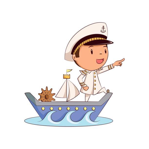 kinderschiffkapitän - matrosenmütze stock-grafiken, -clipart, -cartoons und -symbole