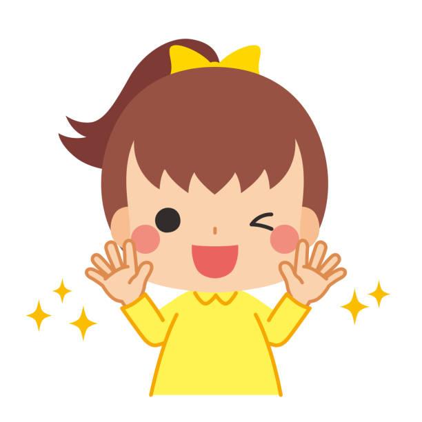 bildbanksillustrationer, clip art samt tecknat material och ikoner med barn som visar rena handflator - sparkle teen girl