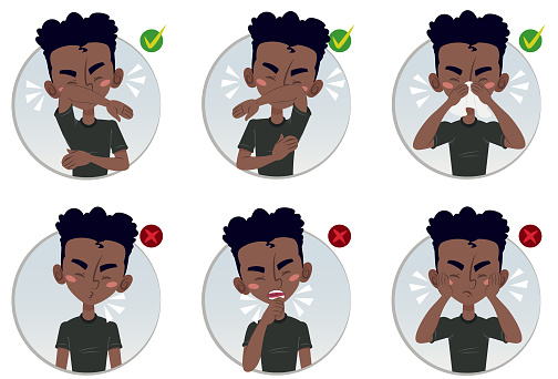 Child showing how to sneeze and what not to do during covid-19