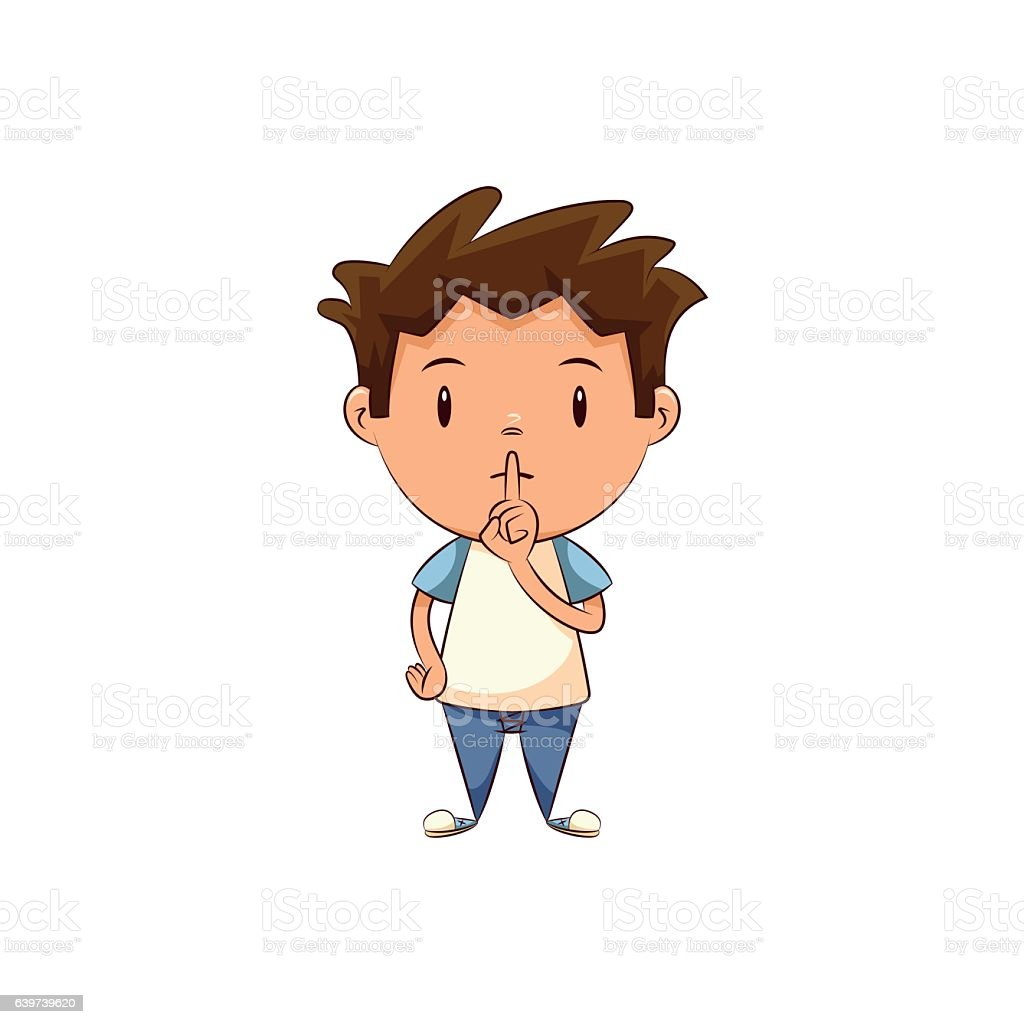 Child silence gesture vector art illustration