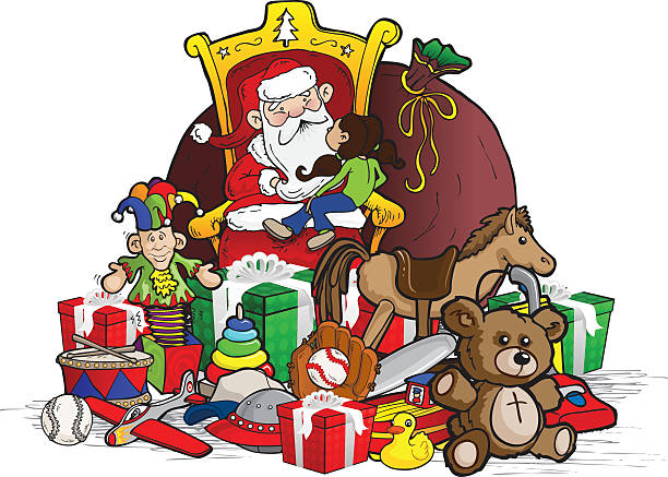 child sitting on santa's lap - old man sitting chair drawing stock illustrations, clip art, cartoons, & icons