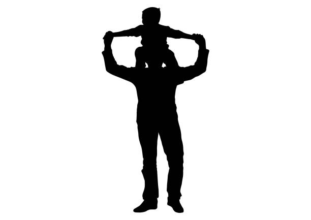 Kind (Sohn) sitzt auf Schultern Mann (Vater) Silhouette, Vektor – Vektorgrafik