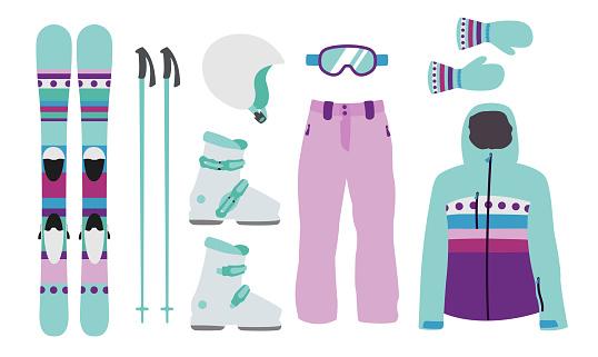 Child Ski equipment kit clothes vector illustration on transparent background. Extreme winter sport