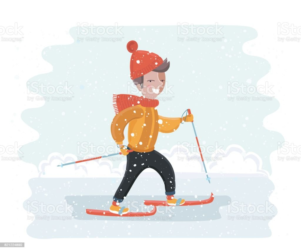 Child skiing down vector art illustration