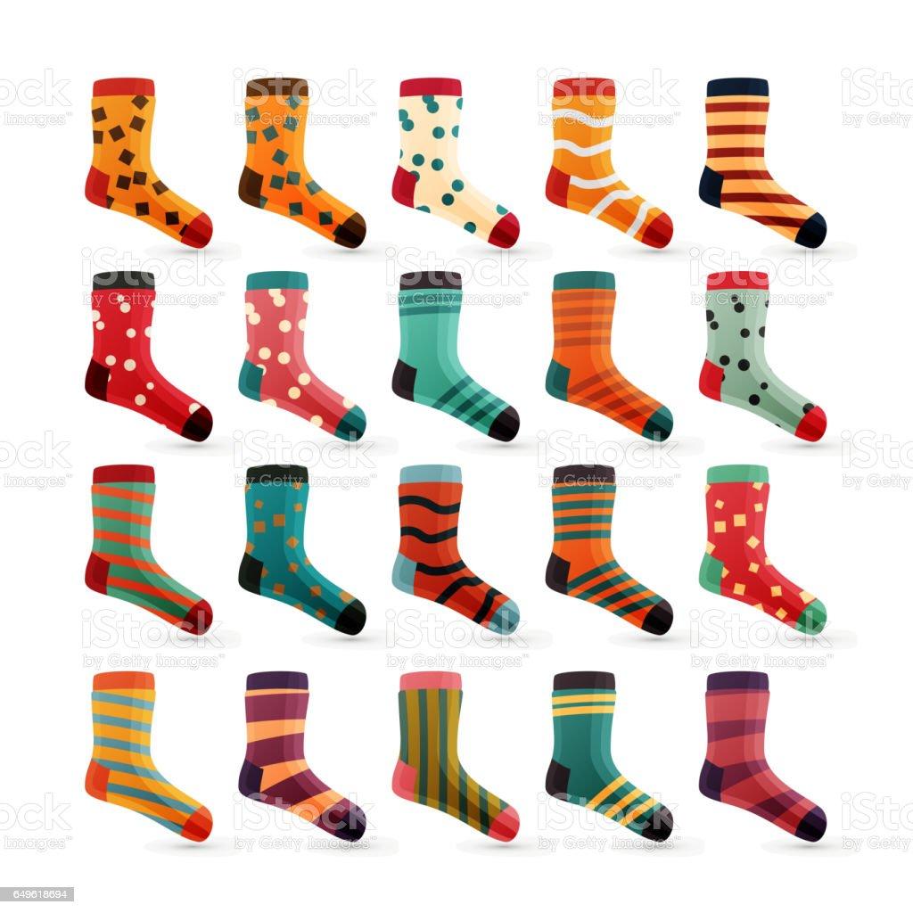 fc3a421364e50e Kinder Socken Icons Vektor Bunte Niedliche Icons Socke Set ...