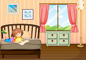 Child studying inside her room