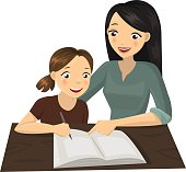 Colorful illustration about a young girl studying with her mother.