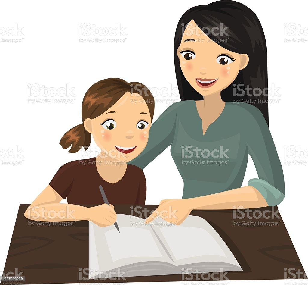 Child studying with her mother vector art illustration