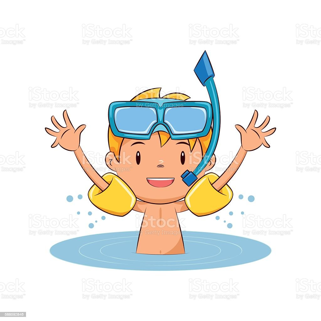 Child swim water wings vector art illustration