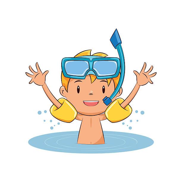 Child swim water wings vector art illustration