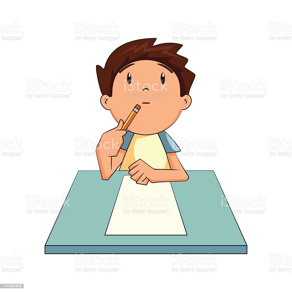 royalty free child thinking clip art vector images illustrations rh istockphoto com picture of child writing clipart child writing letter clipart