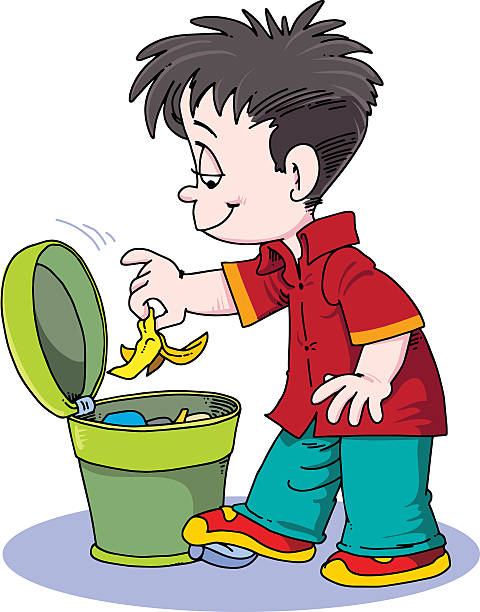 child throwing trash - child throwing garbage stock illustrations, clip art, cartoons, & icons