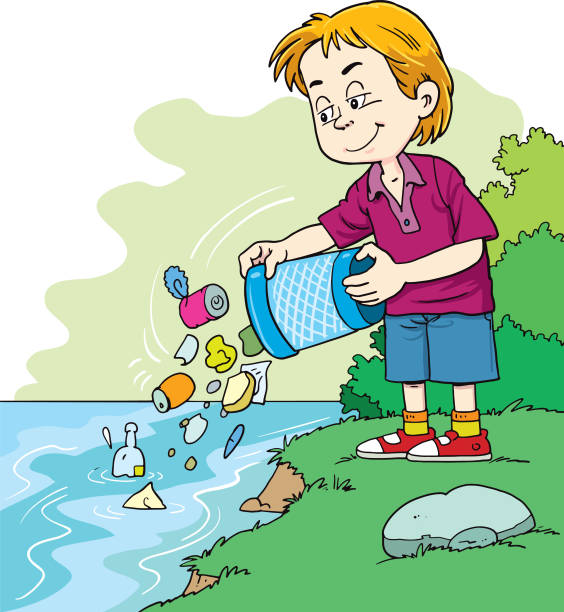 Royalty Free Cartoon Of Water Pollution For Kids Clip Art ...