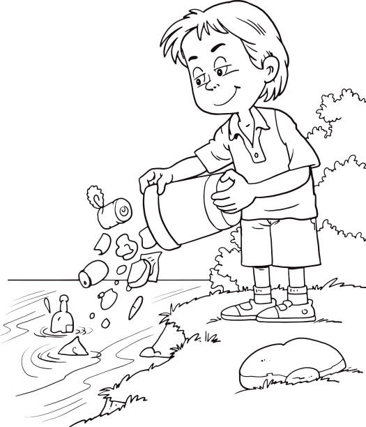 child throws a garbage in the river - child throwing garbage stock illustrations, clip art, cartoons, & icons