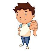 Child thumbs down, vector illustration