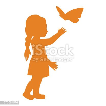 istock Child, toy, little girl playing icon. Orange color vector isolated on a white background 1270584576