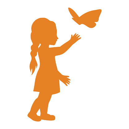 Child, toy, little girl playing icon. Orange color vector isolated on a white background
