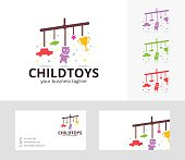 Child Toys vector logo with alternative colors and business card template