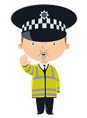 Vector child traffic officer