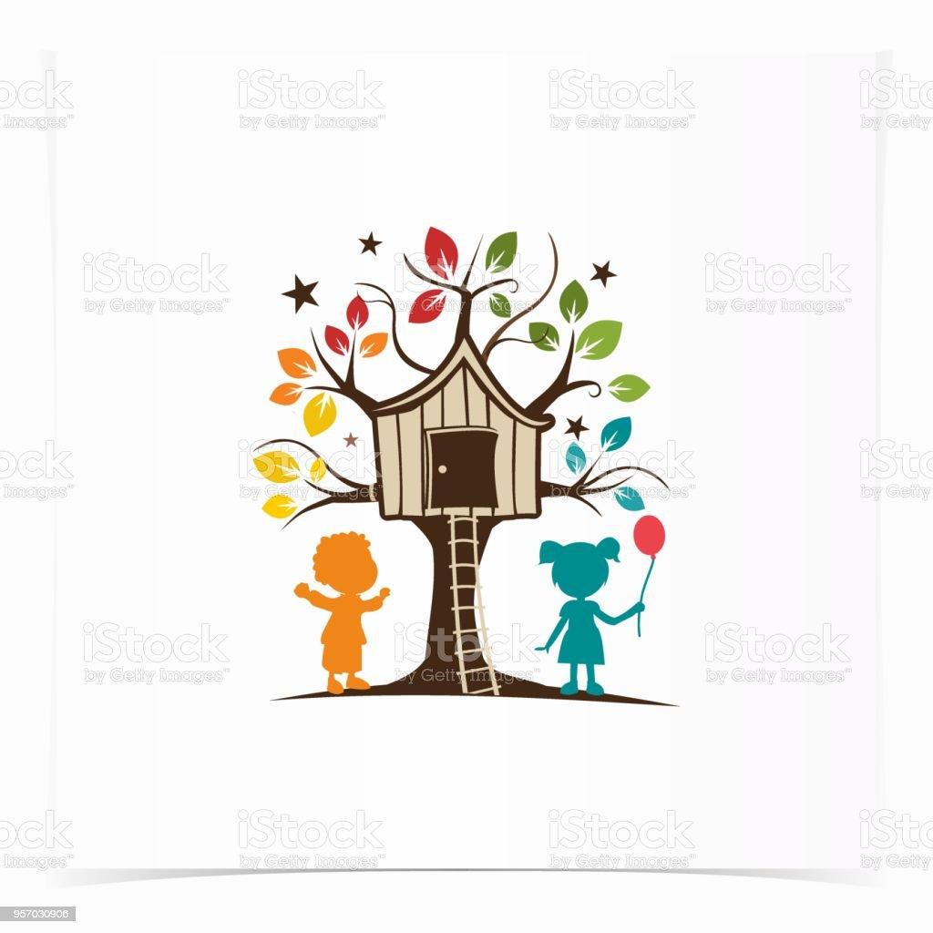 child tree house childcare logo design concept element