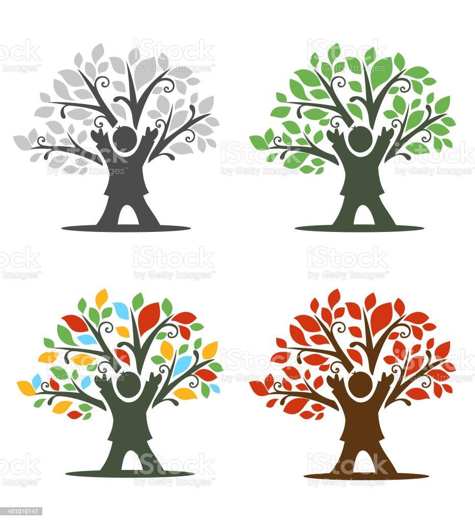 Bambino icona di albero - illustrazione arte vettoriale
