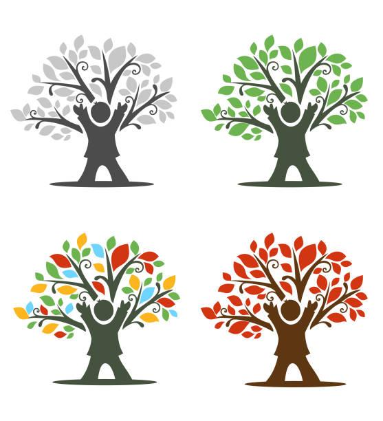 Criança árvore ícone - ilustração de arte em vetor