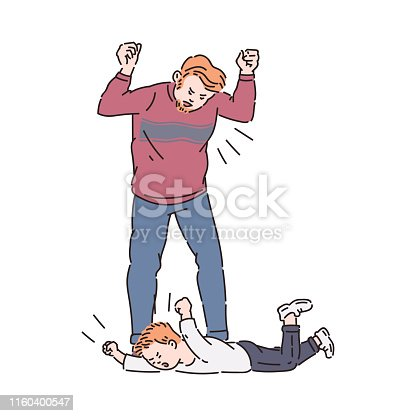 Child trowing a tantrum and father yelling. Flat cartoon characters drawing of family conflict between tired angry man and his crying son lying on floor, isolated vector illustration