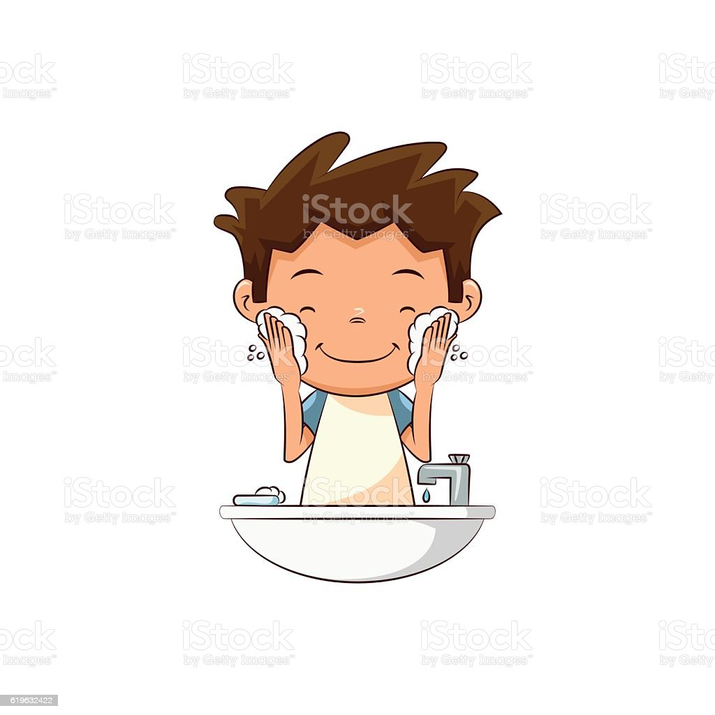 Child Washing Face Lathering Stock Vector Art & More ...