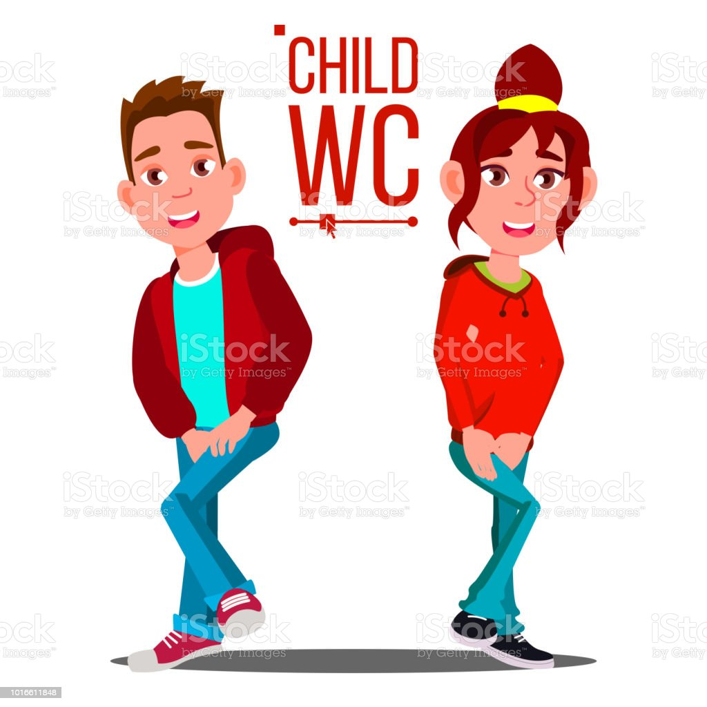 Child Wc Sign Vector Boy And Girl Toilet Icon Isolated Cartoon