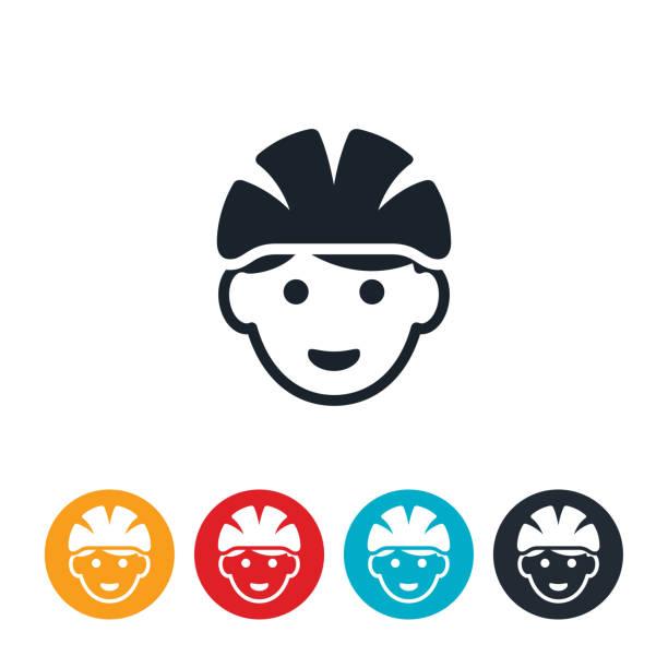 Child Wearing Bicycle Helmet Icon vector art illustration