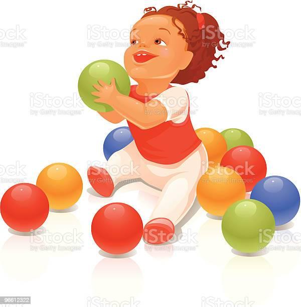 Child With A Ball-vektorgrafik och fler bilder på Barndom