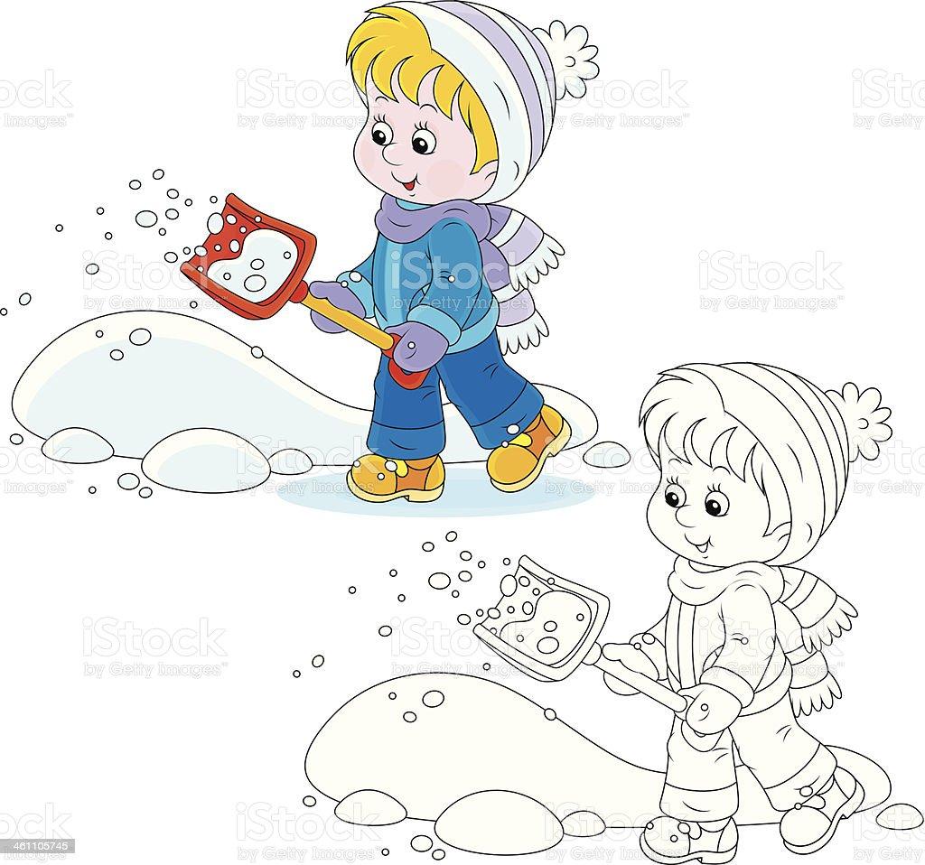 Child with a snow shovel vector art illustration