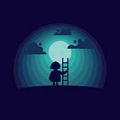 Child with a stepladder on the moon background. Flat style conceptual illustration.