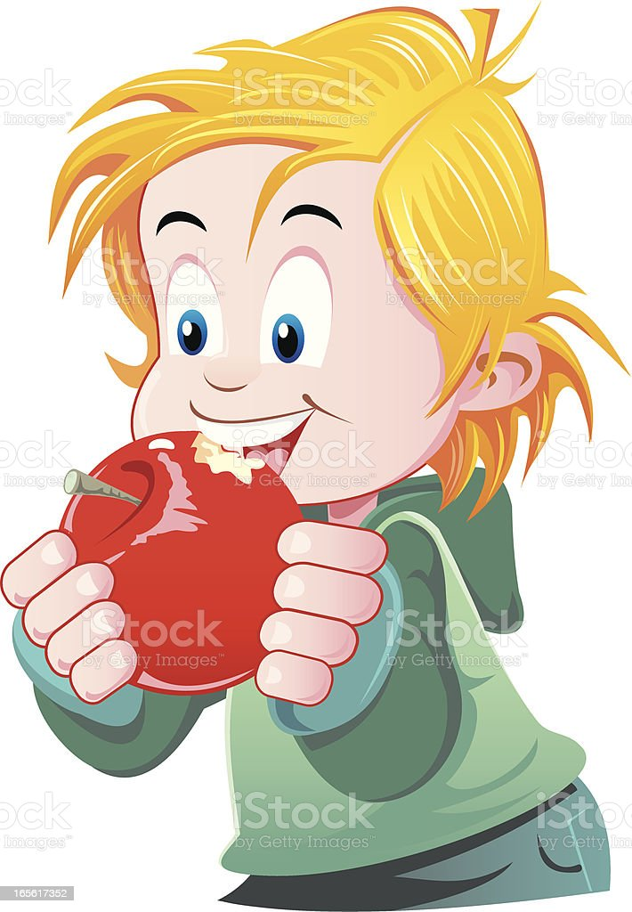 Child with apple royalty-free stock vector art