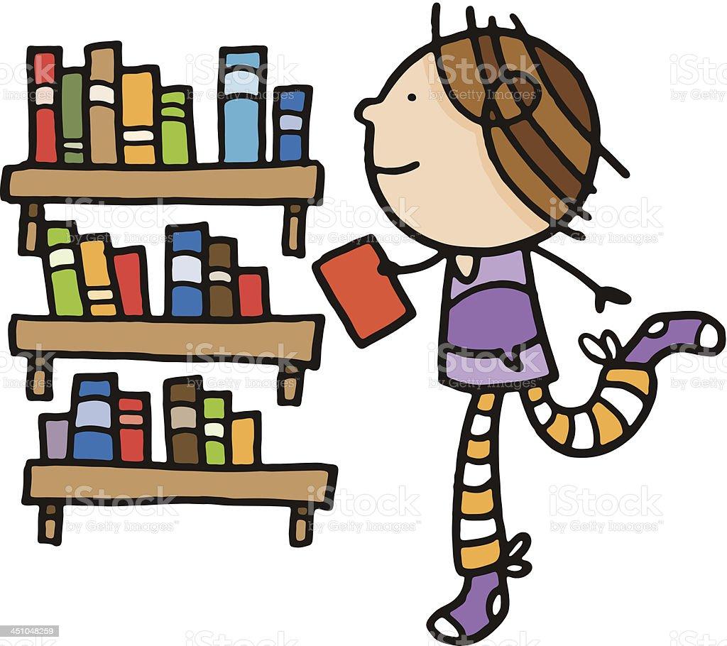 Enfant Avec Des Livres Dans Une Bibliotheque Vecteurs Libres