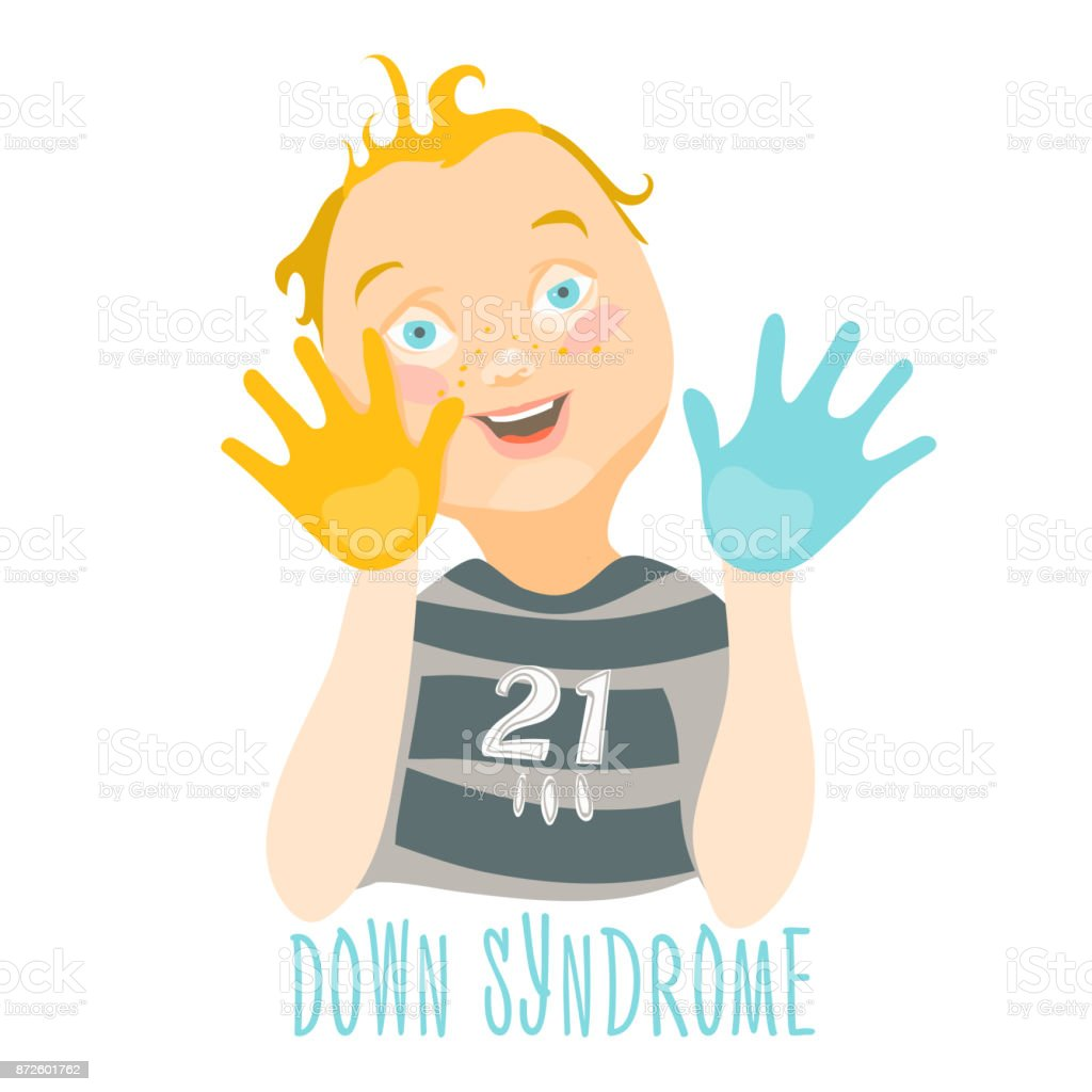 Child With Down Syndrome And Painted Hands Stock Vector Art More
