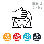 An icon of sick child with a fever and thermometer and a persons hand feeling her forehead. The icon includes editable strokes or outlines using the EPS vector file.