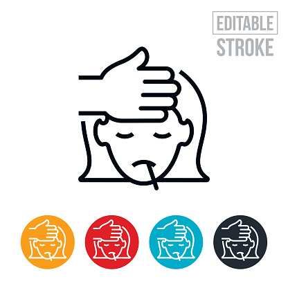 Child With Fever Thin Line Icon - Editable Stroke