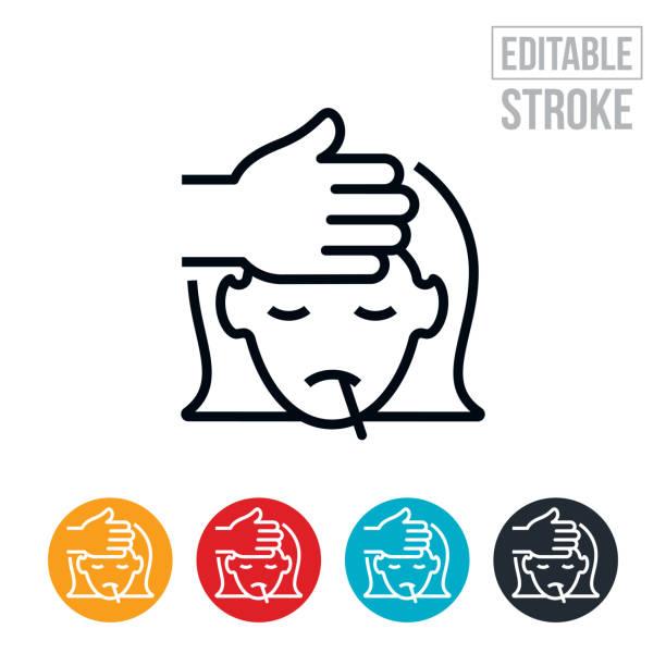 bildbanksillustrationer, clip art samt tecknat material och ikoner med barn med feber tunn linje ikon - redigerbar stroke - sjukdom