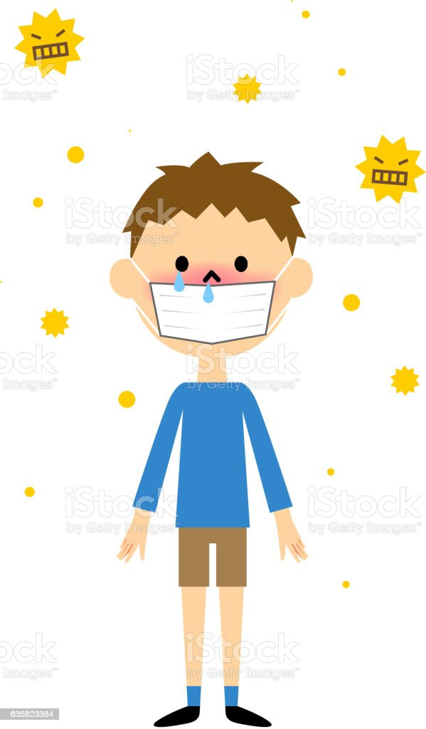 Child with hay fever vector art illustration