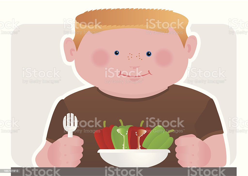 Child with Healthy Mixed Peppers for Dinner vector art illustration