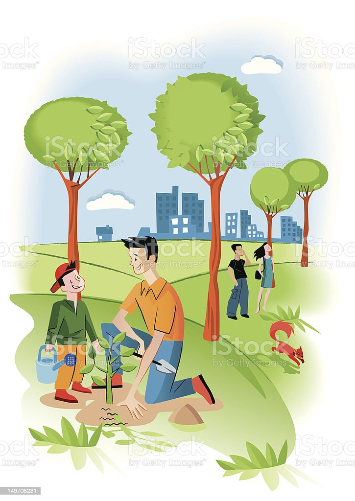 Child With His Father Planting A Seedling royalty-free stock vector art