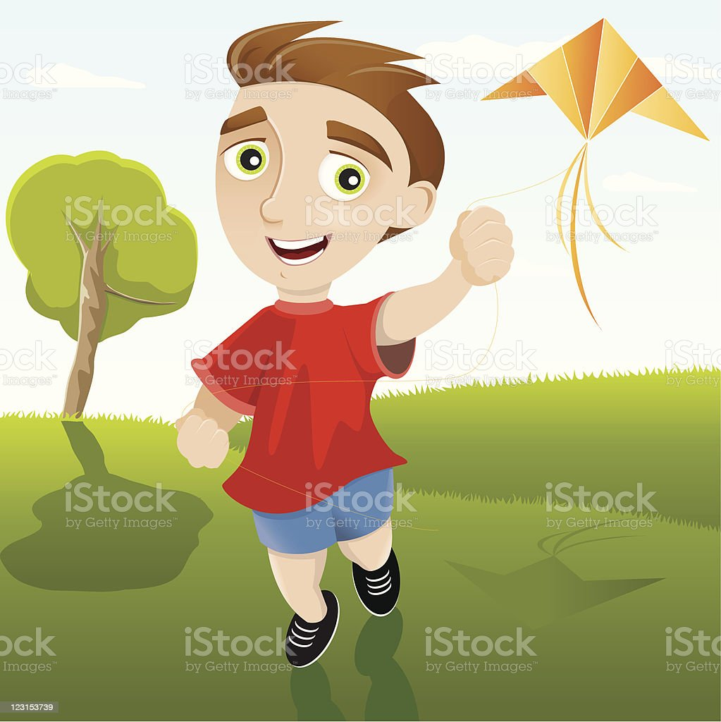 Child with Kite royalty-free stock vector art